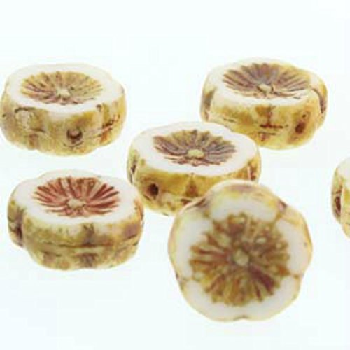 Czech Glass Beads Carved Hawaiian Flower Beads 12mm White ()
