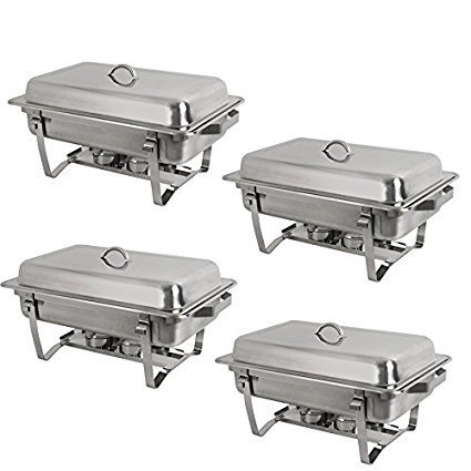 8 Quart Stainless Steel Chafer Full Size Chafer Chafing Dish W/Water Pan, Food Pan, Fuel Holder and Lid For Catering Buffet Warmer Set ()