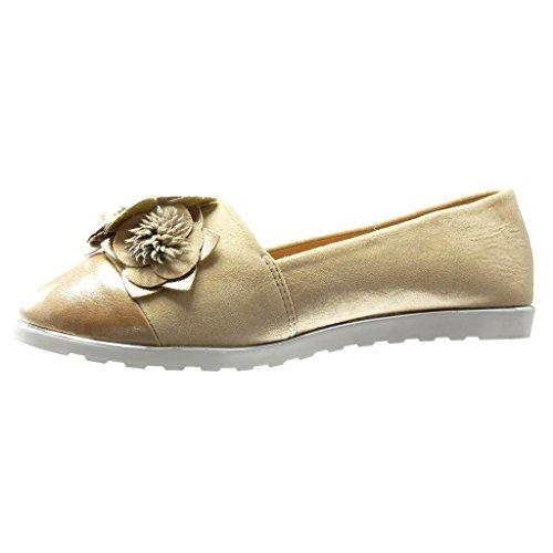 Angkorly - damen Schuhe Mokassin - Slip-On - sneaker Sohle - Blumen - fantasy Keilabsatz high heel 1.5 CM - Champagner