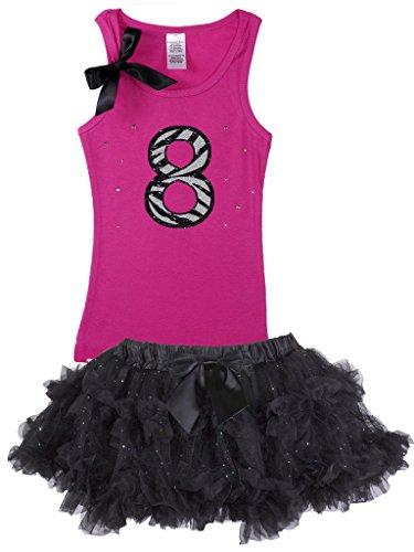 Bubblegum Divas Big Girls 8th Birthday Hot Pink Zebra Pettiskirt Outfit 5-6 by Bubblegum Divas