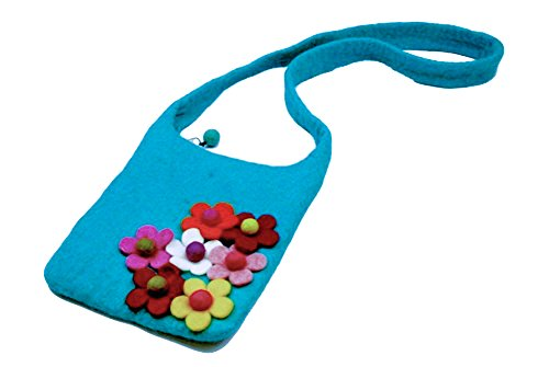 Girls Side Flower Cross Body Felt Handbag with Coordinating Felt Coin Purse (Turquoise)