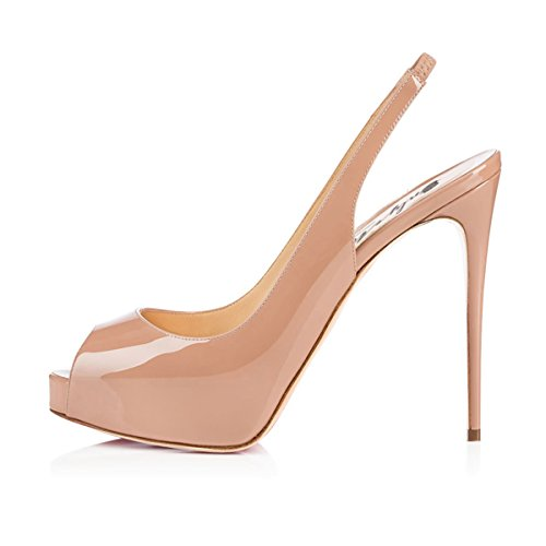 Onlymaker Womens Peep Toe High Heel Slingback Dress Pumps Shoes