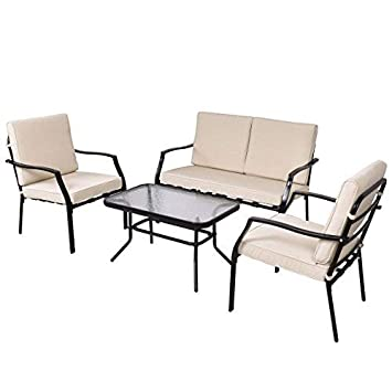 Tangkula Patio Furniture Set 4 Piece Outdoor Patio Coffee Table and Cushioned Sofa Sets Conversation Set