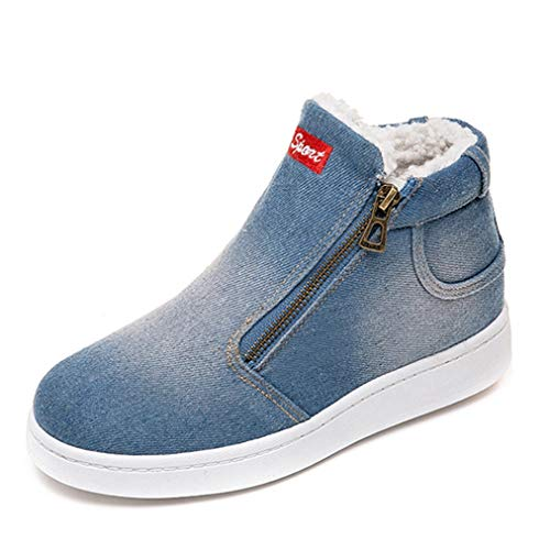 - JOYBI Women Fashion Ankle Boots Denim Zipper Cowboy Slip On Round Toe Comfortable Winter Warm Snow Boots Blue