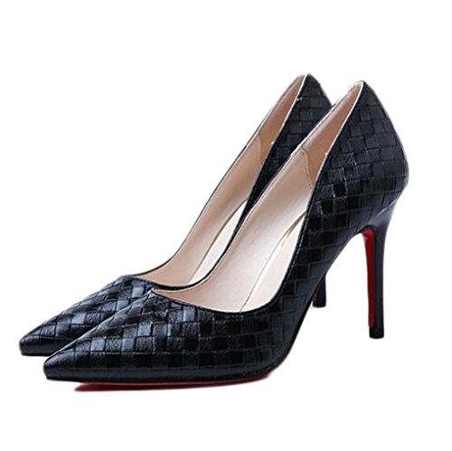 9cm UK 5 Nightclub De Mode Black Chaussures Argent Talons Chaussures Party 38 Haute 5 Travail Mariage Sexy EU Cour Femme HT76xw