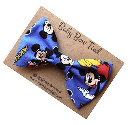 Handmade Blue Mickey Mouse Pre-tied Clip on Bow Tie for Boys (Mickey Mouse Ties For Boys)