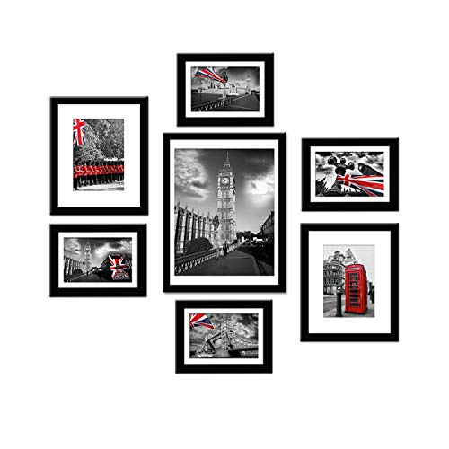 - Soonrada Picture Frames Collage(7 Pack) Black Solid Wood Photo Frames Wall Gallery Kit. Display Vertically or Horizontally on a Wall or Table Top - Mounting Hardware Included