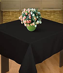 "Sterling Mill Seamless acabado poliéster mantel cuadrado para banquetes de comedor para fiestas de Navidad bodas, negro, 90"" x 90"" Square"