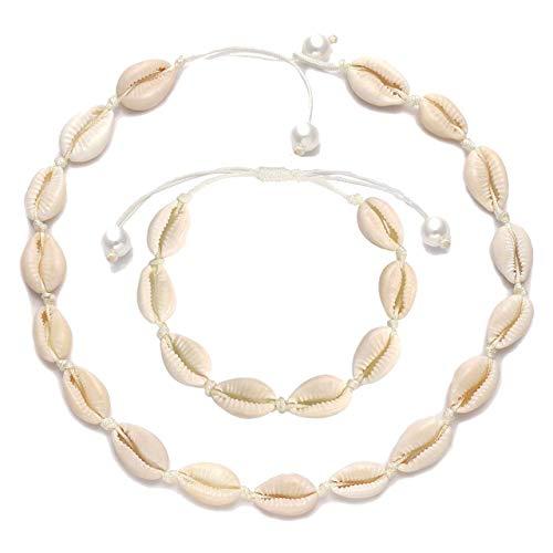 CEALXHENY Shell Choker Necklaces Bohemia Cowrie Shell Necklaces Beaded Seashell Necklaces Summer Beach Jewelry for Women (C Choker+Bracelet)