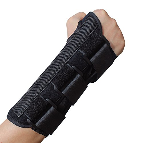 Metal Cast Guard (KNASI Carpal Tunnel Syndrome Night Wrist Support Brace,Right and Left Hand Orthopedic Wrist Fracture Splint Arm Brace for Tendonitis Arthritis,Adjustable Wrist Guards Women Man (New Right, Large))