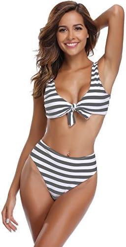 SHEKINI Tie Knot Front Bikini Set Ladies Top Bra Underwear Women Briefs Knickers Underpants Swimming Wear Bathing Suit Beachwear Lingerie
