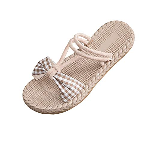 GHrcvdhw Summer Classic Beach Shoes Open-Toed Flat-Soled Women Sandals Sweet Two Wearing Sandals and Slippers Khaki
