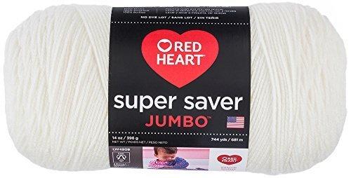 (Red Heart Super Saver Jumbo Yarn, Soft White)