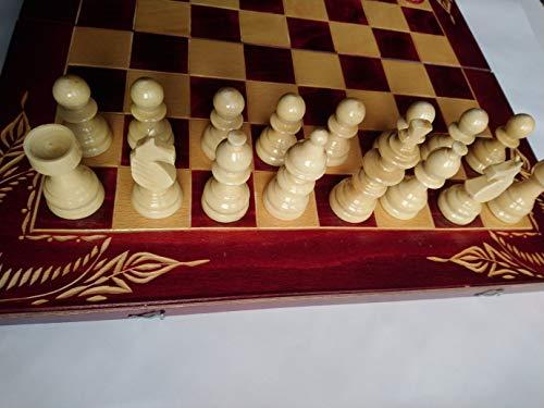 Nuevo rojo juego de ajedrez de madera, backgammon, damas, 44x44 cm ...