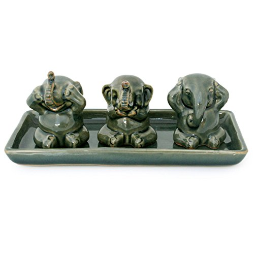 NOVICA Green Good Luck Celadon Ceramic Sculpture, 2.6 Tall Elephant Lessons Set of 3