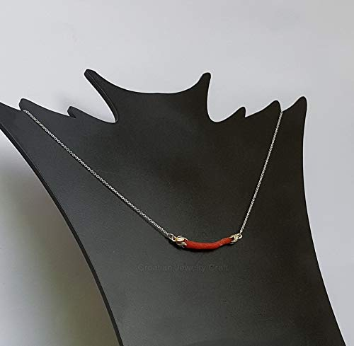 - Unique Red Coral Necklace, Dainty Sterling Thin Chain Necklace, Untreated Mediterranean Coral Branch Necklace *Exp Shipping