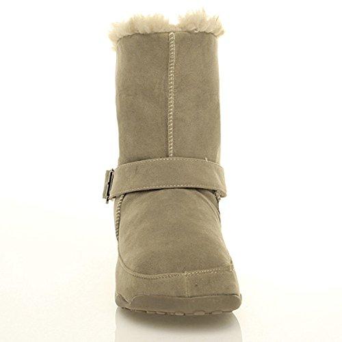on Taupe size ladies Beige Ajvani slip platform comfort ankle winter lined Womens boots buckle fur 47g607q