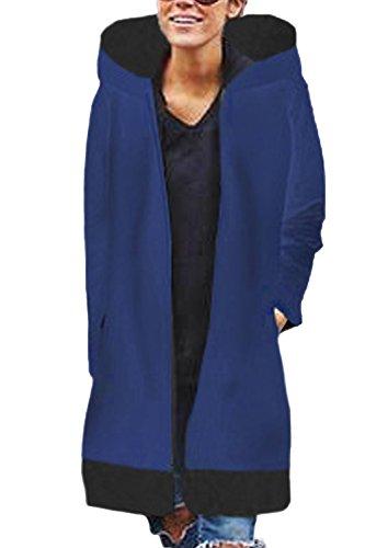 Capa Colorblock Blue Mujer Gruesa MIDI Externa Prendas Cremallera Capucha Con Invierno La nP0xvwdqEE