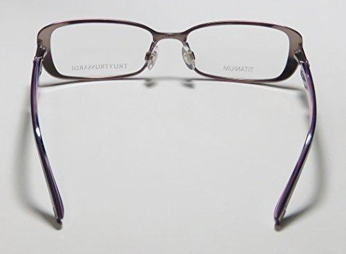 Trussardi 12507 Womens/Ladies Prescription Ready Avant-garde Design Designer Full-rim Titanium Flexible Hinges Eyeglasses/Eye Glasses (53-16-135, Mauve / Violet) by Trussardi (Image #5)