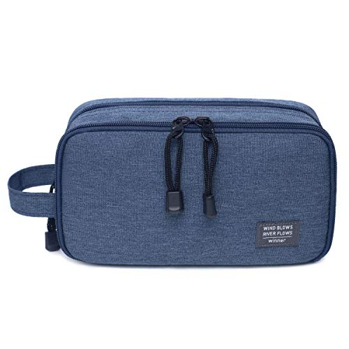 - JORYEE Men's Toiletry Bag, Canvas Waterproof Travel Dopp Kit Bag Accessories Organizer (Dark Blue)