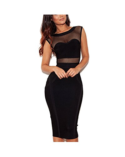 Whoinshop Rayon, da donna, elegante, in rete, fascia Midi Dress