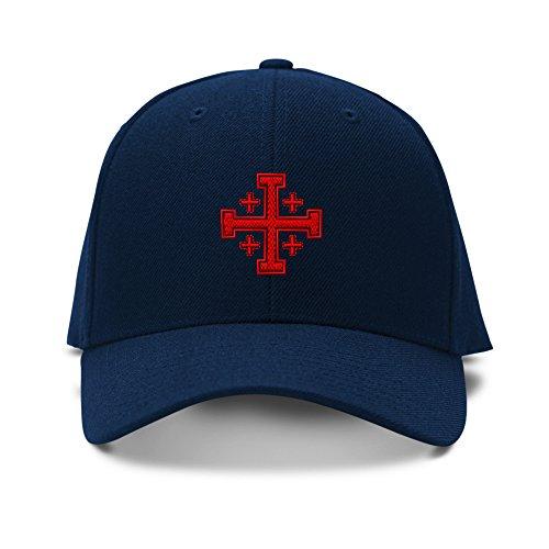 Jerusalem Cross God Jesus Embroidery Adjustable Structured Baseball Hat (Structured Adjustable Baseball Hat)