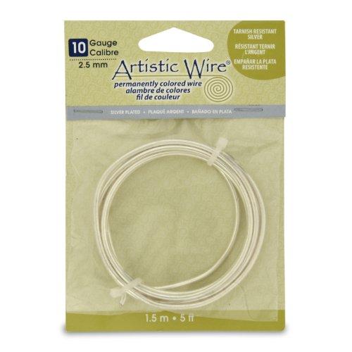 - Artistic Wire 10S Gauge Wire, Tarn Resist Silver, 5-Feet