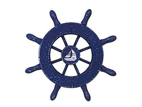 Hampton Nautical Rustic Dark Blue Decorative Ship Wheel with Sailboat 6\