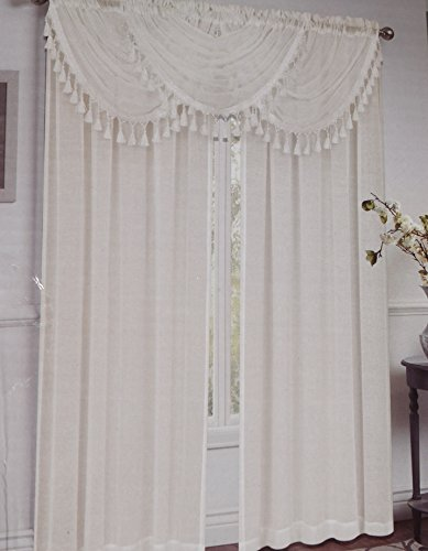 Regal Home Collections Circa Waterfall Window Valance with Decorative Trim, 47