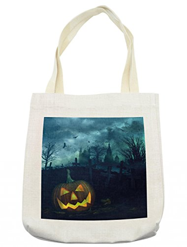 Lunarable Halloween Tote Bag, Halloween Pumpkin in Spooky Graveyard Eerie Gloomy Stormy Atmosphere, Cloth Linen Reusable Bag for Shopping Groceries Books Beach Travel & More, Cream -