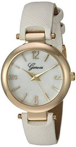 Geneva Women's GV/1014WMWT Gold-Tone and White Strap Watch