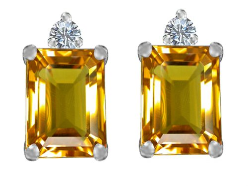 Star K 8x6mm Emerald Octagon Cut Simulated Citrine Earrings Studs Sterling Silver