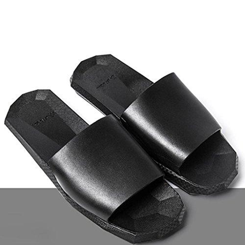 Elevin (tm) Femmes Hommes Couple Intérieur En Plein Air Été Doux Fond Bain Pantoufles Sandales Chaussures Noir-femmes