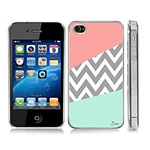 Grey Chevron Zig Zag Pink and Turquoise Snap-On Cover Hard Carrying Case for iPhone 4/4S (Clear)
