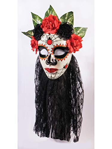 Forum Novelties Women's Day Of The Dead Senora Lace Mask, Black, One Size -