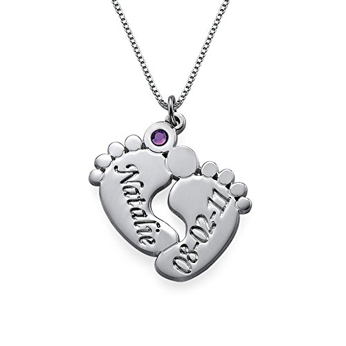 Baby Feet Necklace with Name, Date and Birthstone