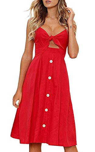 ECOWISH Womens Dresses Summer Tie Front V-Neck Spaghetti Strap Button Down A-Line Backless Swing Midi Dress 1603 Red2 L