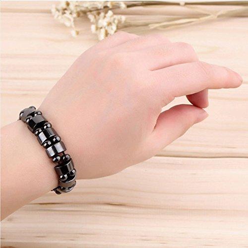 BAIBUE BUESAWAN 1PC Black Magnetic Hematite Healing Mens Womens Loose Beads Bracelet ()