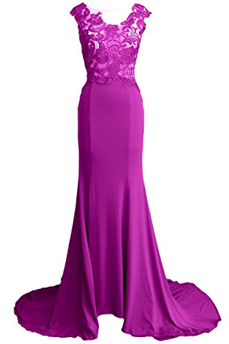 Fuchsia Jersey MACloth Long Evening Dress Lace Party Prom Formal Gown 2017 Women Mermaid pqw0p7H