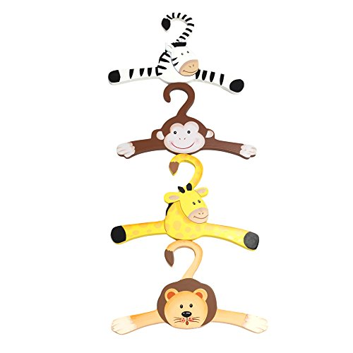 (Fantasy Fields Sunny Safari Animals Thematic Kids Hangers Set (4 Pieces) | Imagination Inspiring Hand Painted Details Non-Toxic, Lead Free Water-based Paint)
