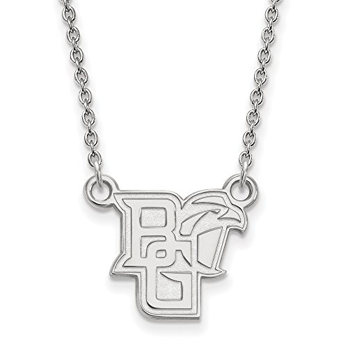 925 Sterling Silver Officially Licensed Bowling Green State University College Small Pendant with Necklace (18 in x 1.25 mm)
