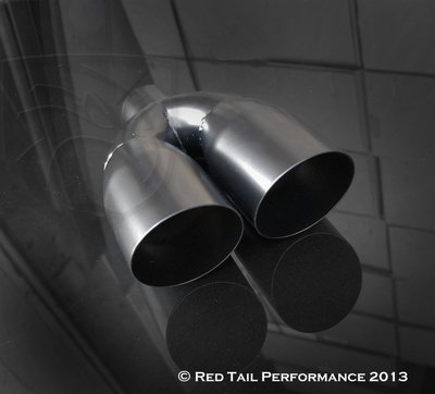 Mina Gallery Black Powder Coated Exhaust Muffler Tip Dual Double Round Forward Slash Cut 2.5