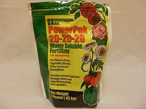 - Southern Ag PowerPak 20-20-20  Water Soluble Fertilizer w/micronutrients, 1lb bag