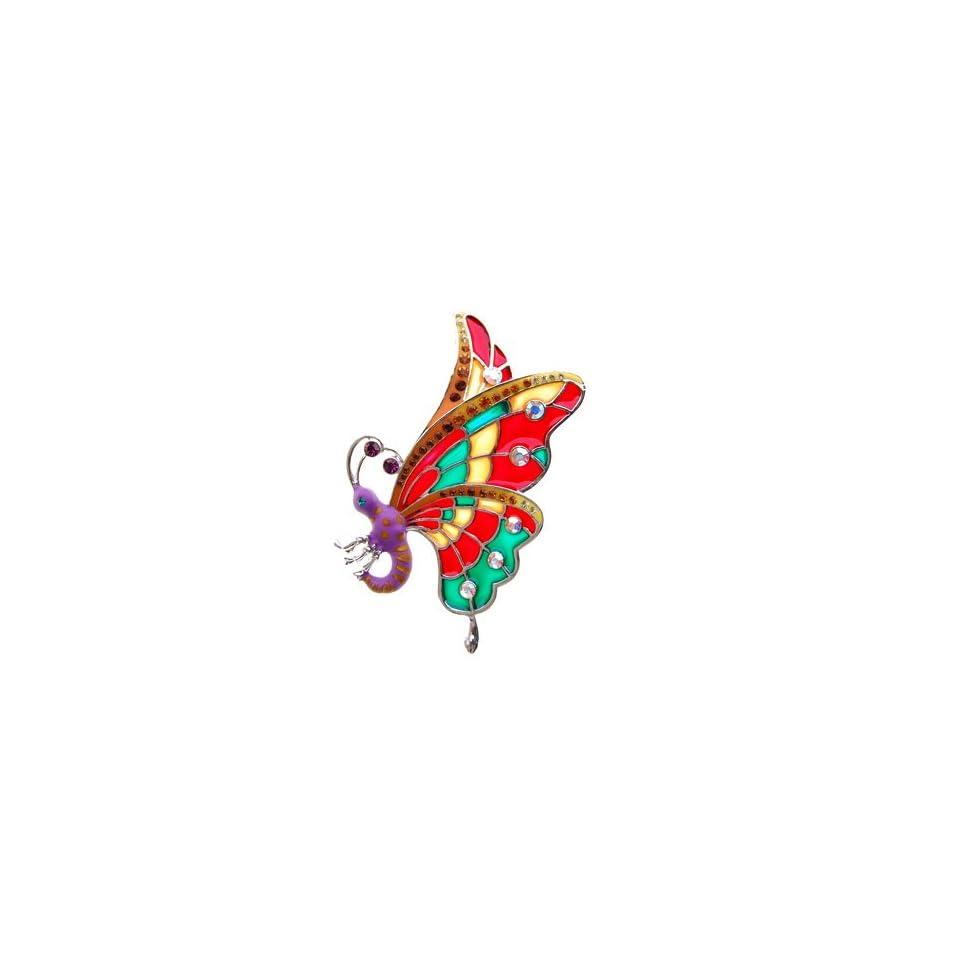 Vibrant Color Enamel Wing Butterfly Czech Crystal Rhinestone Costume Brooch Pin