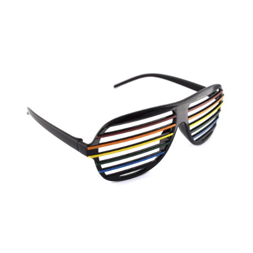 Black Rainbow Colour Shutter Shades ®/ Novelty Fun - Kanye Shades Shutter