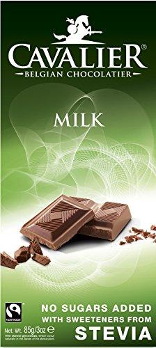 Milk Stevia No Sugar Added Free Cavalier Belgian Chocolates Bar 85g