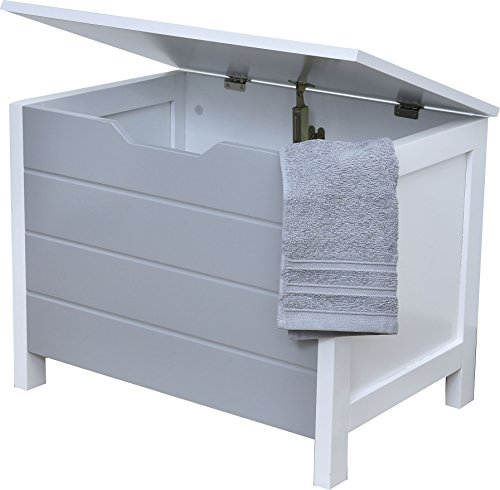 EVIDECO 9909208 Wooden Storage Chest for Towels Linen Toys-Modern D-White and Grey