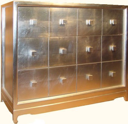 Oriental Cabinet With Three Large Felt Lined Drawers, Silver Leaf, And  Asian Legged Modern