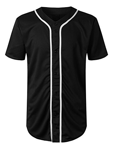 URBANCREWS Mens Hipster Hip Hop Basic Solid Baseball Jersey Shirt Black, XL by URBANCREWS