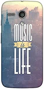 Snoogg Music Is Life Designer Protective Back Case Cover For Moto-G